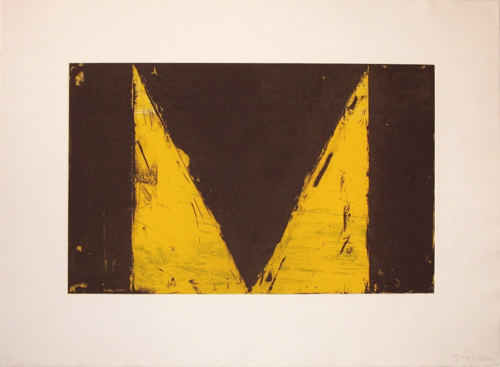 "Cris Gianakos ,  Delta Series  (yellow) 1985, Aquatint etching, 22"" x 30"", 55.9x76.2cm.jpg"