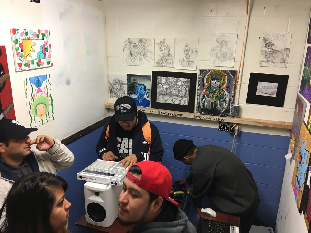 Shoutout DJSETR & Sonny. Setup before throwing down a dope beat set in Gallery Room. Pieces Done By @19mike40