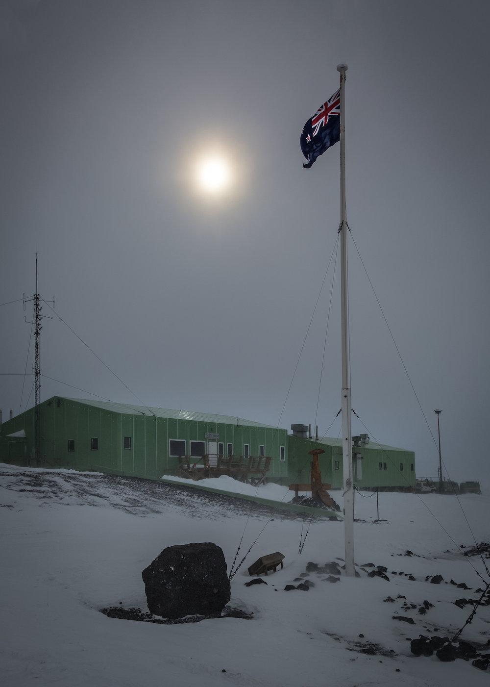 Scott Base and NZ flag