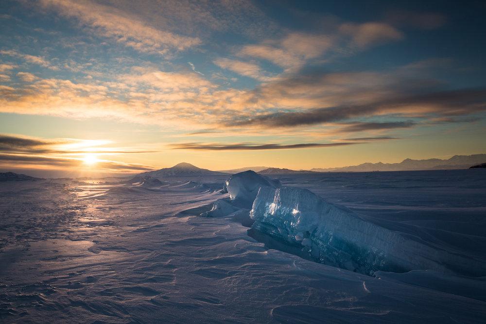 Pressure ridges on the ice