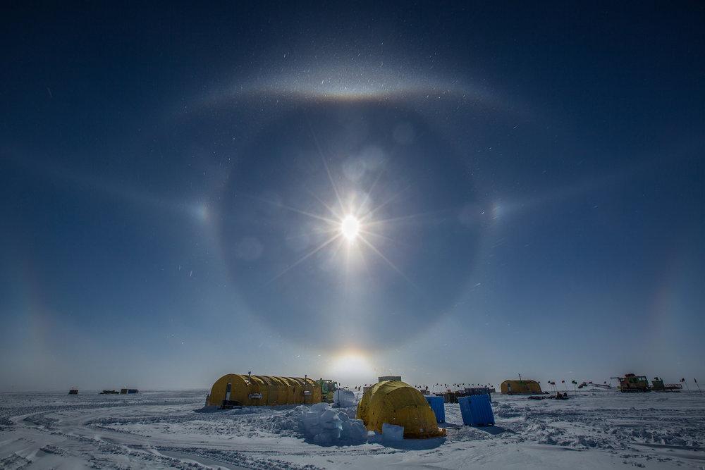 Sun dog over field camp