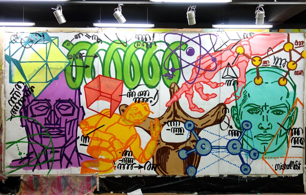 2x6 meter canvas, acrilics