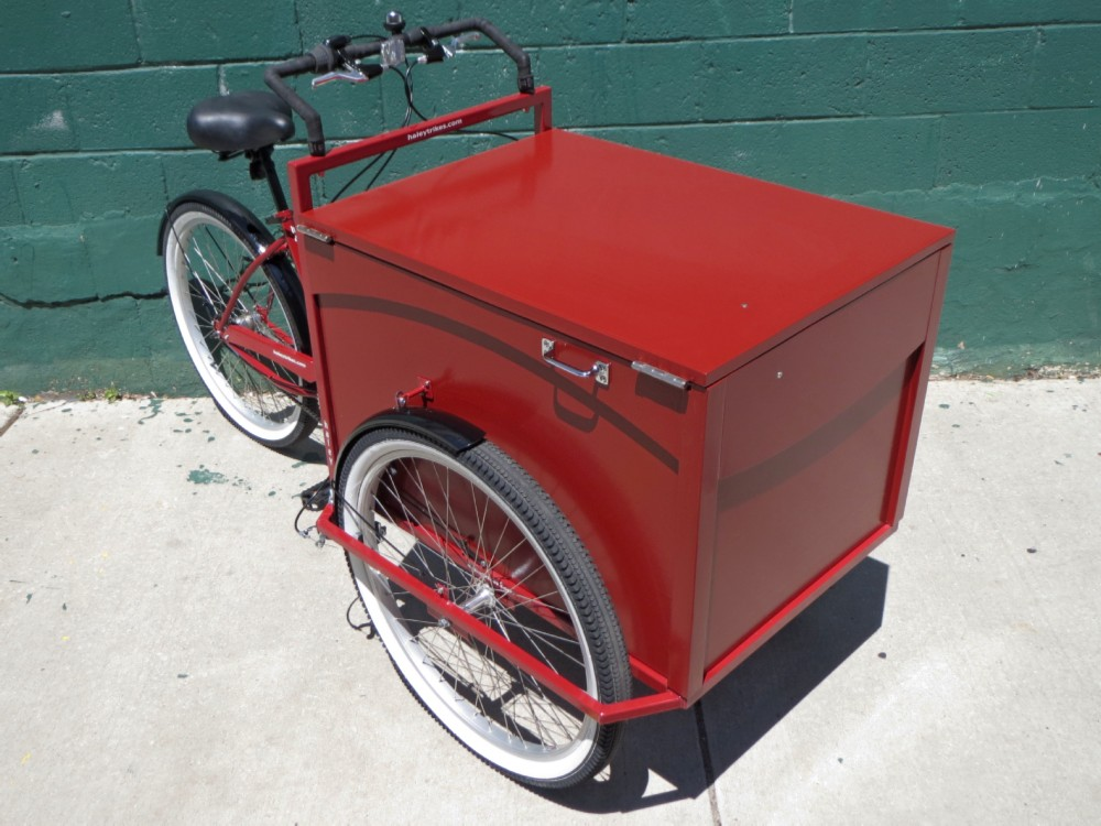 All red standard cargo trike