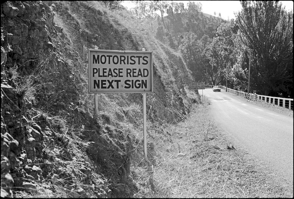 preposterous! Undoubtedly this absurd sign no longer exists - I took the photo along the entrance road to the Buchan Caves back in the 1970s. Ludicrous, indeed. And yet…