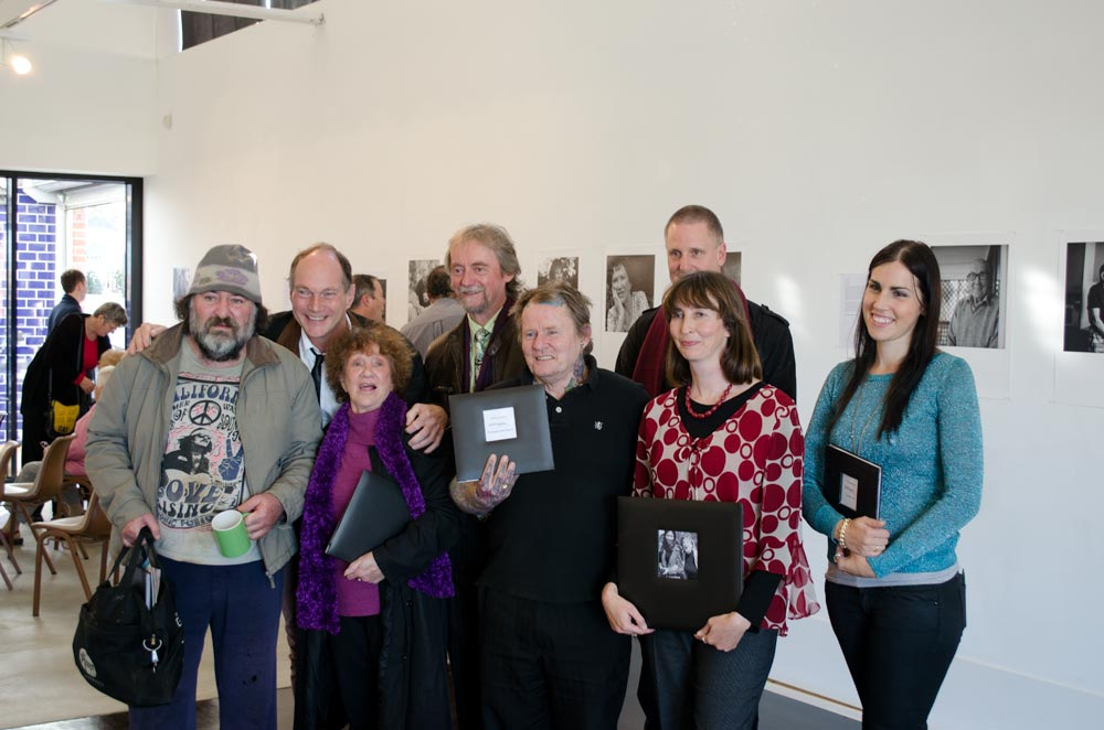 Some of the people involved in A Place For Us (left to right): Joseph, Alan's sometimes reluctant subject; moi; Betty, my charming and characterful subject; Bryan, Wintringham's founder and head honcho; John, Morganna's shy, retiring tattooed subject; Alan (at the back); Catherine, our valued new friend who co-ordinates activities for Wintringham people; and Morganna. It has been such a privilege to work alongside Alan and Morganna, both of whom are amazingly talented photographers, and amazing people.