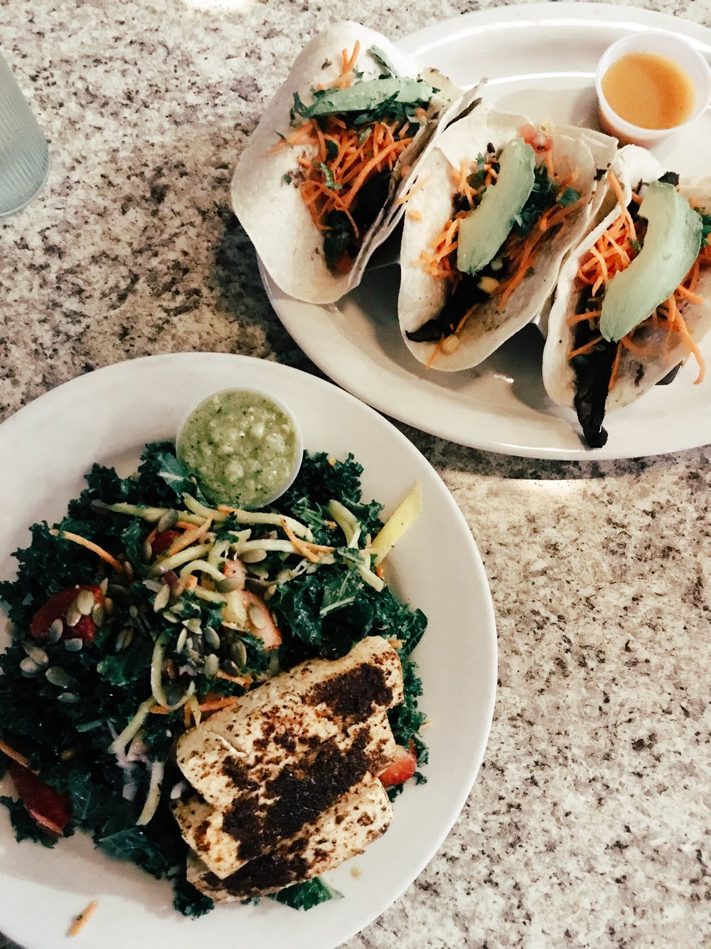 Oh Kale Yeah! salad with blackened tofu and portabella mushroom tacos