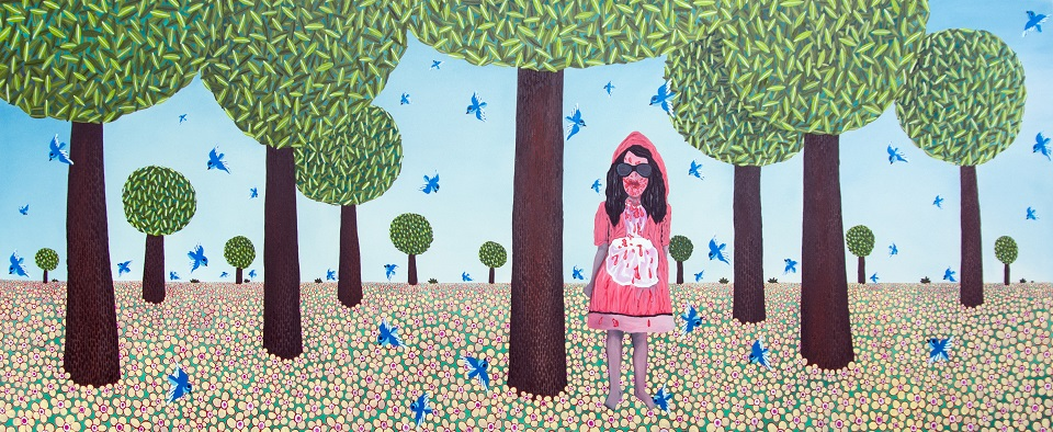 Little Red Riding Hood Who Likes Tomato Sauce, oil on canvas, 120x295 cm, 2015..jpg