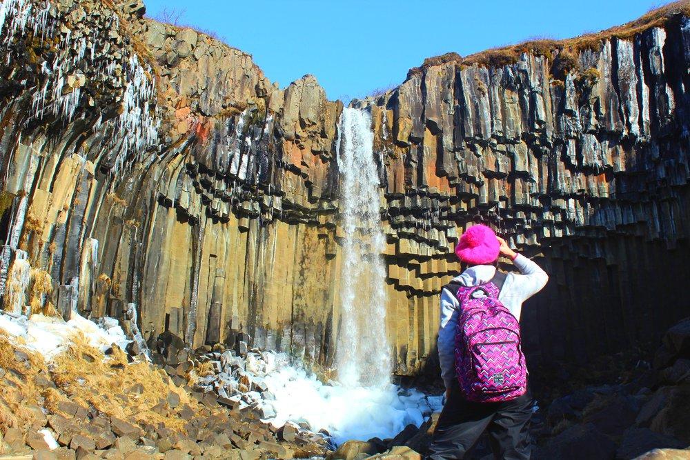 Svartifoss is a waterfall in Skaftafell in Vatnajökull National Park. The columnar basalts have inspired the architecture of many buildings in Reykjavik like the Hallgrímskirkja church.