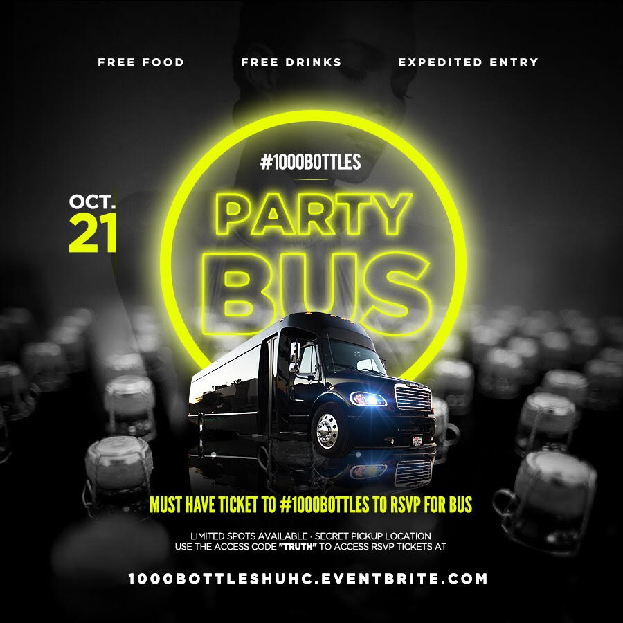 #1000BottlesBus  #1000Bottles Pre Game Bus....It's LIT!!!   1000BottlesHUHC.Eventbrite.com