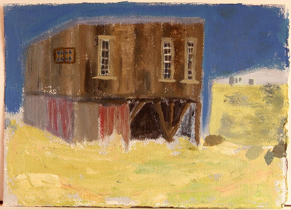 EDITH PERRENOT 'The studio in Bullbay' 2015, acrylic on paper 21 x 29.7 signed verso