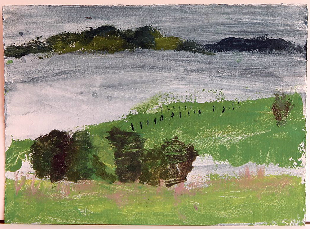 EDITH PERRENOT 'View Bullbay 1' 2015, acrylic on paper 21 x 29.7 signed verso