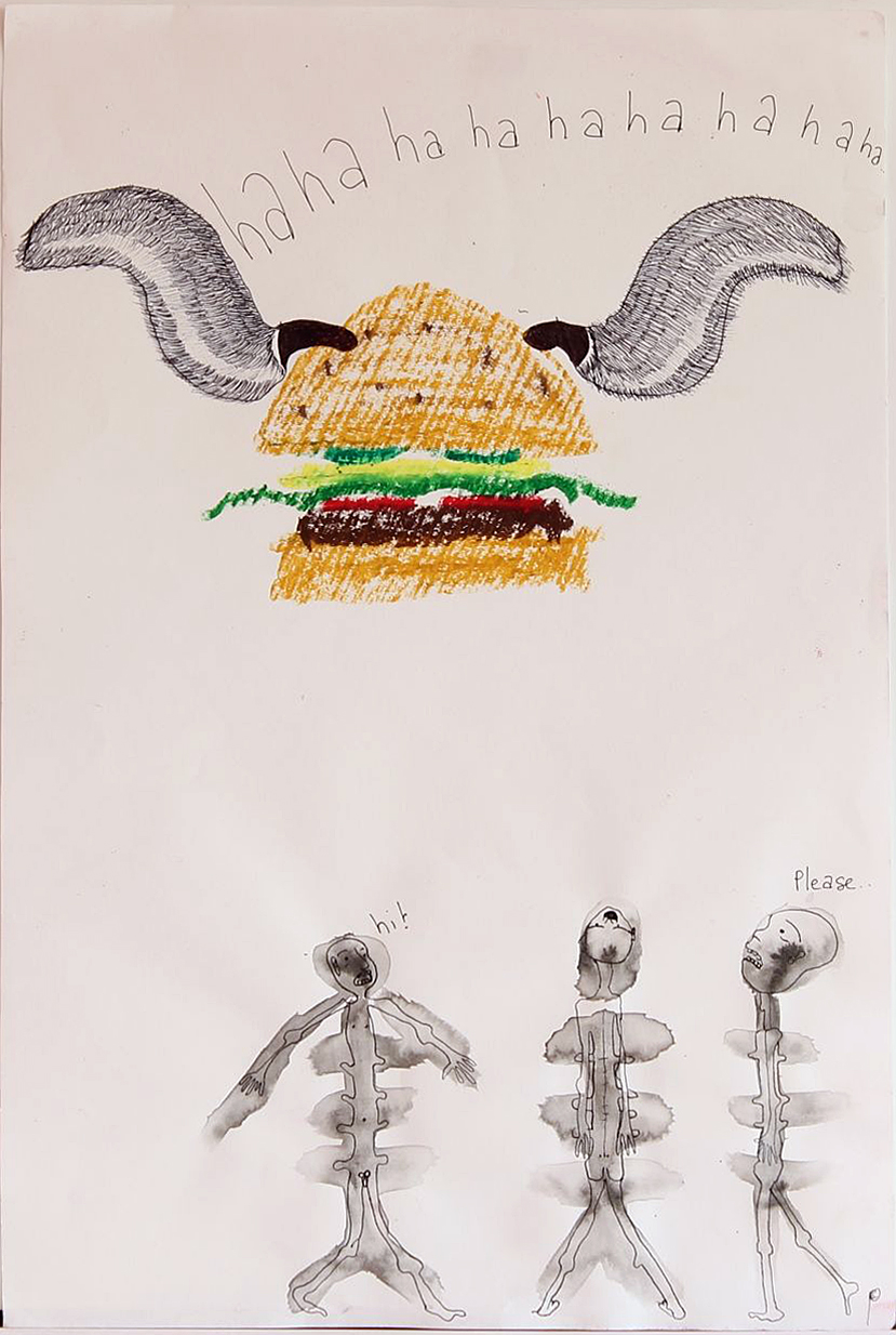 EDITH PERRENOT ' Hunger consideration' 2014, oil pastel and pen on paper, 50,8 x 40,6 cm, signed LR