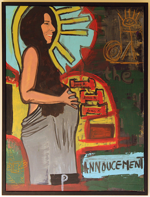 EDITH PERRENOT 'The Annoucement' 2016, acrylic on canvas, 120 x 77 cm signed LL