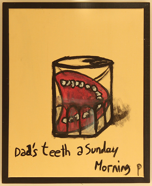 EDITH PERRENOT ' Dad's teeth a Sunday Morning' 2015, acrylic on canvas, 54 x 44 cm, signed LR
