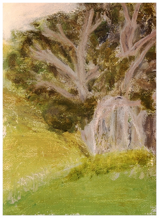 EDITH PERRENOT 'Jane's hill' 2015, acrylic on paper, 29,7 x 21 cm signed verso