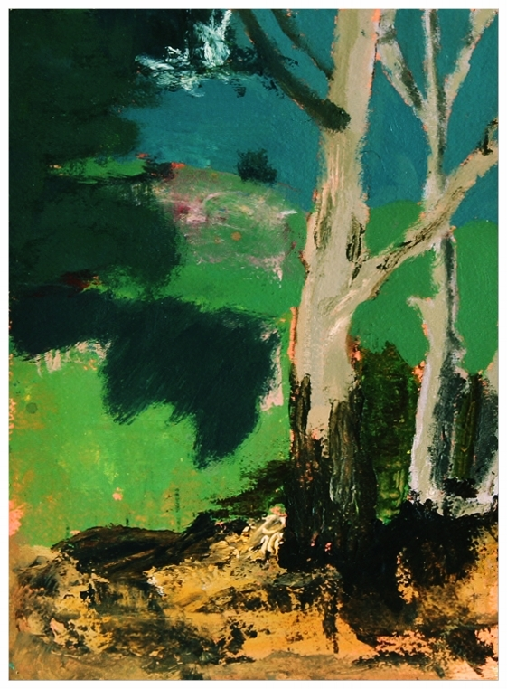 EDITH PERRENOT 'Bruny Landscape' 2015, acrylic on paper, 29,7 x 21 cm, signed verso SOLD