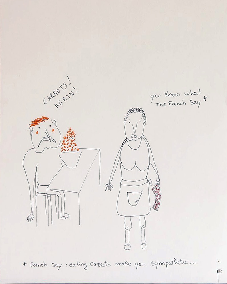 EDITH PERRENOT 'Carrots ! Again !' 2014, oil pastel and pen on paper, 50,8 x 40,6 cm signed LR