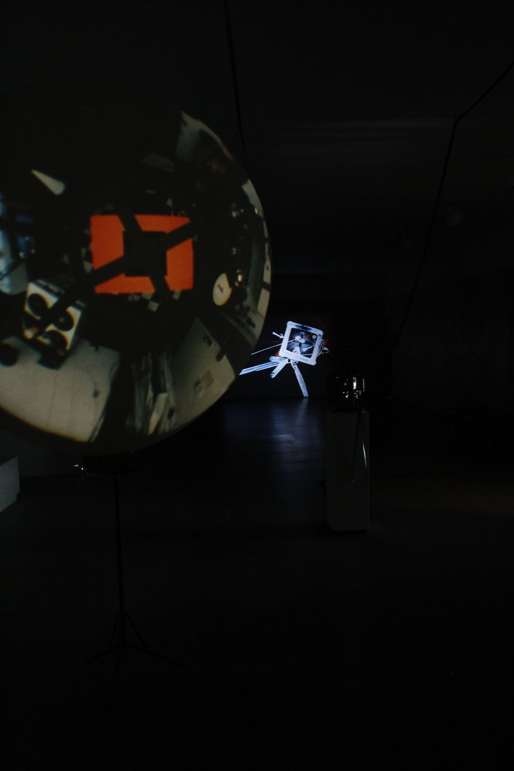 Klaus Lutz   Vulcan , 2004 and  Acrobatics , 1996 (from left to right)  16mm color films, Silent  Courtesy: The Estate of Klaus Lutz  Photo: Rebecca J. Squires   September 5, 2017