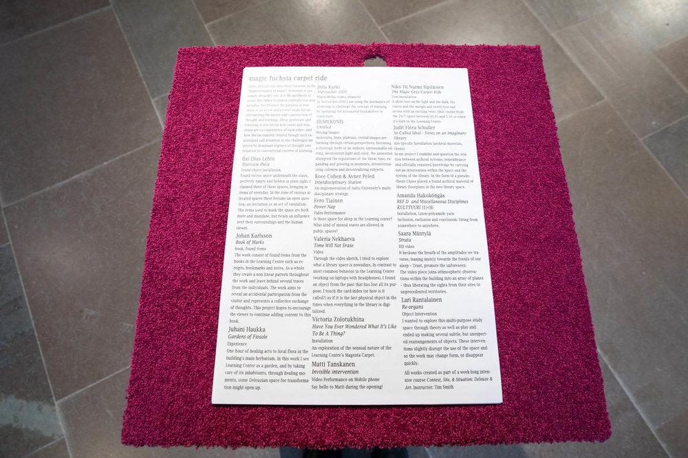 Magic Fuchsia Carpet Ride // Photo: Mikko Raskinen / Aalto University