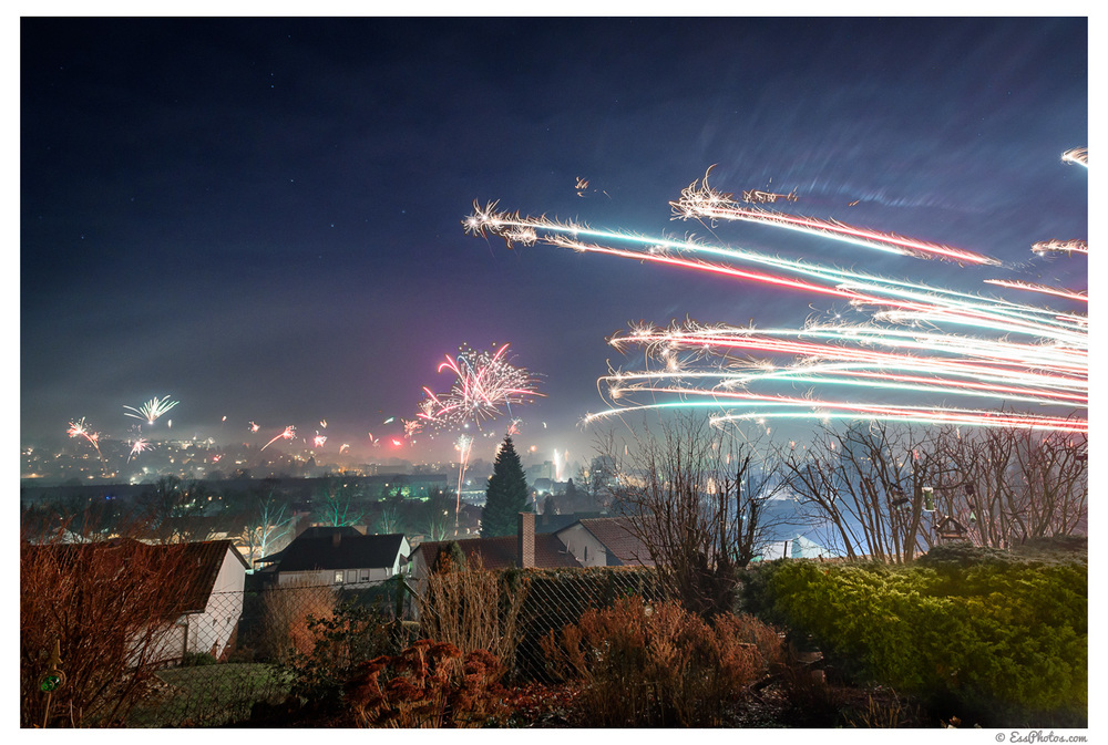 Fireworks over Salzgitter (Germany) on New Year's Eve 2016 -- 19mm, f/8, 10sec, ISO 800.Shot with a D750 on a tripod and with the 17-35 f/2.8D.