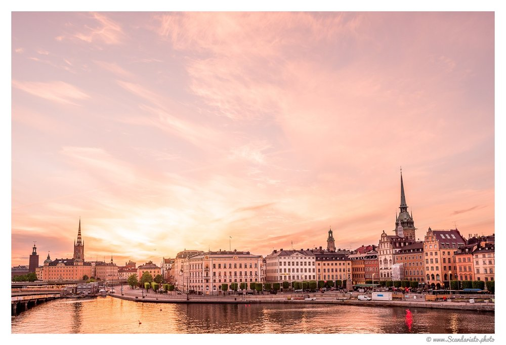 Stockholm at sunset. 24mm on full-frame. 1/80 sec, f/8, ISO 100