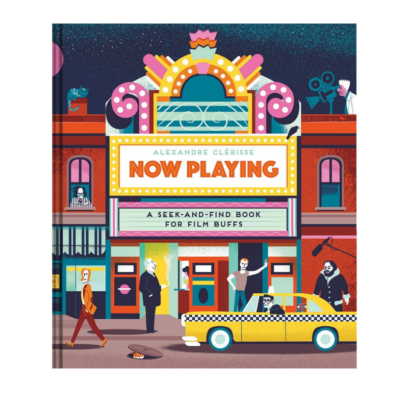Can you find Edward Scissorhands, Steve Zissou, Mrs. Bates, and seven Gremlins? - Now Playing is a treat for film, illustration & puzzle fans alike.