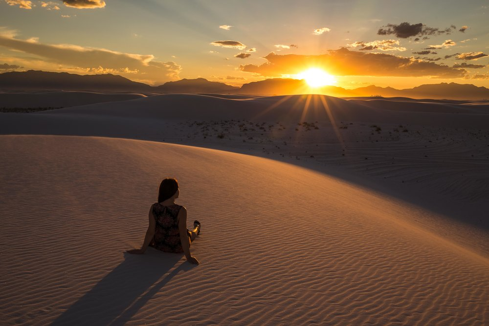 Wife and sunset, White Sands National Monument, New Mexico