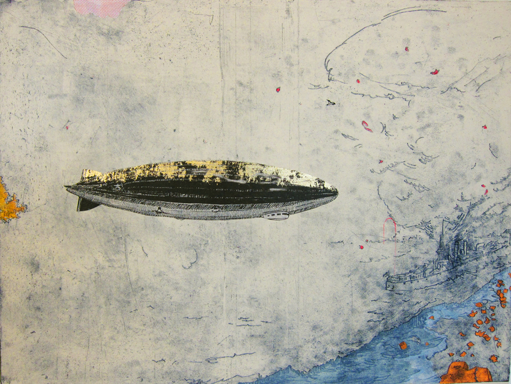 Detail of Zeppelin, 2013, intaglio with chine collé and screenprint, diptych, 18 x 48 inches