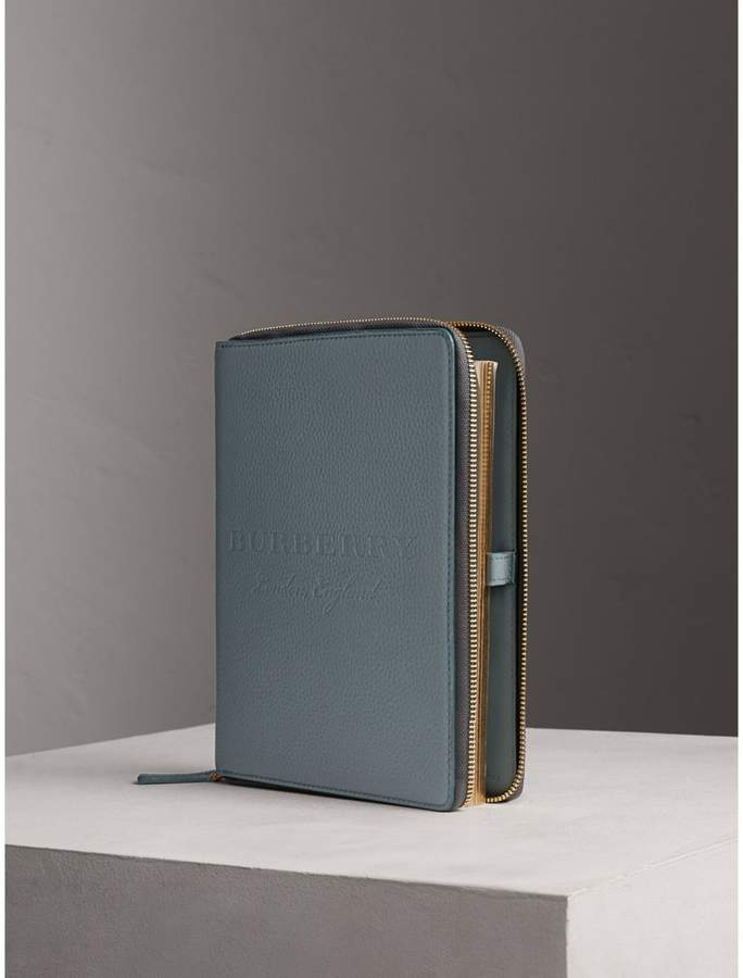 Burberry Embossed Leather Ziparound A5 Notebook Case - Dusty Teal Blue