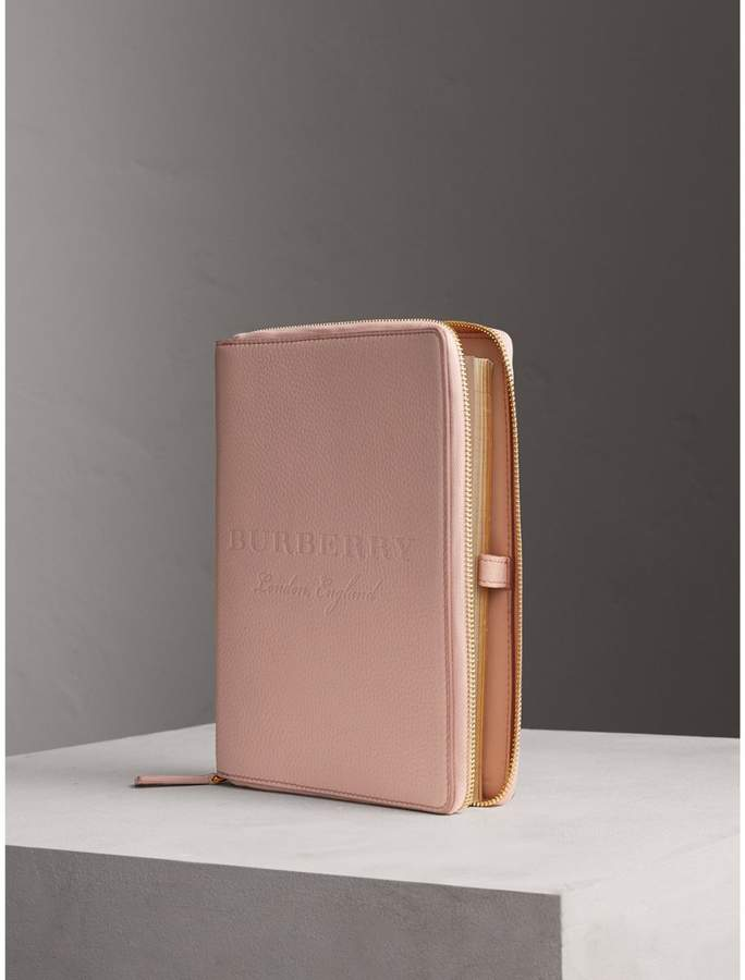 Burberry Embossed Leather Ziparound A5 Notebook Case - Pink.jpg