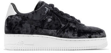 Metallic Faux Leather-trimmed Crushed-velvet Sneakers - Anthracite