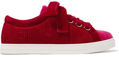 Logo-embroidered Two-tone Velvet Sneakers