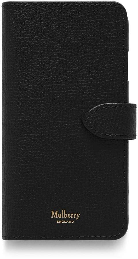iPhone Flip Case Black Cross Grain Leather