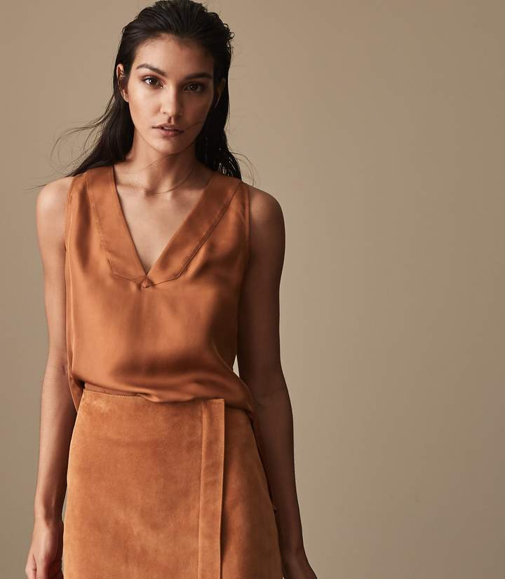 REISS Jorja - Pleat-detail Tank Top in Rust