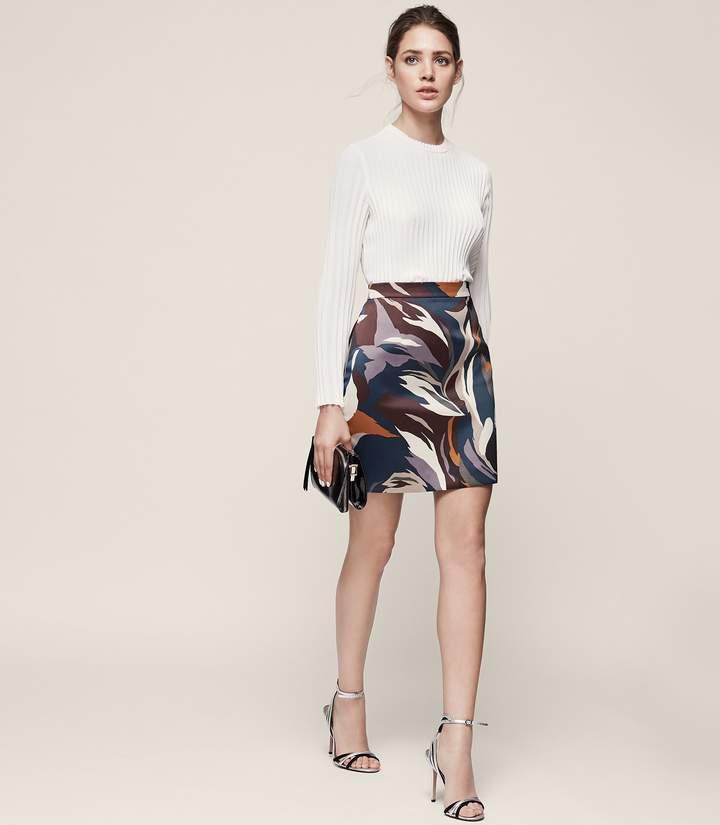 REISS Verona - Printed Mini Skirt in Multi