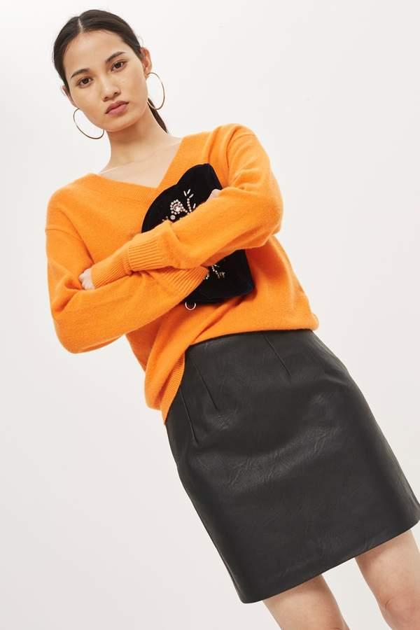 Topshop PETITE Mini Faux Leather Pencil Skirt