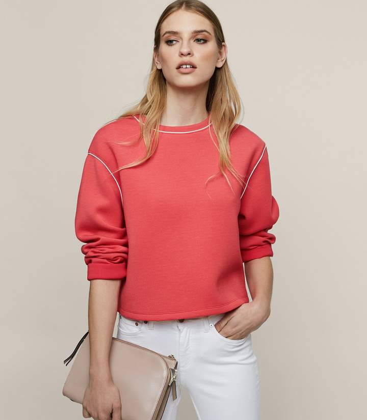 REISS Gaia - Neoprene Sweatshirt in Lotus Red