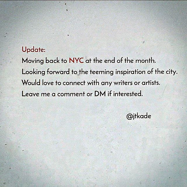 NYC soon.  Would love to make some of these digital connections real.  #poetry #poem #poet#poetsofinstagram #write#writerscommunity #instapoetry#writingcommunity #spokenword #igpoets #Love #lovers#writersofinstagram #writing #poetsofig#writer #prose #poets #creativewriting#instapoem #poetrycommunity #poems#wordporn #writersofig #words #instapoet #typewriter #quotes #instaquotes #romance
