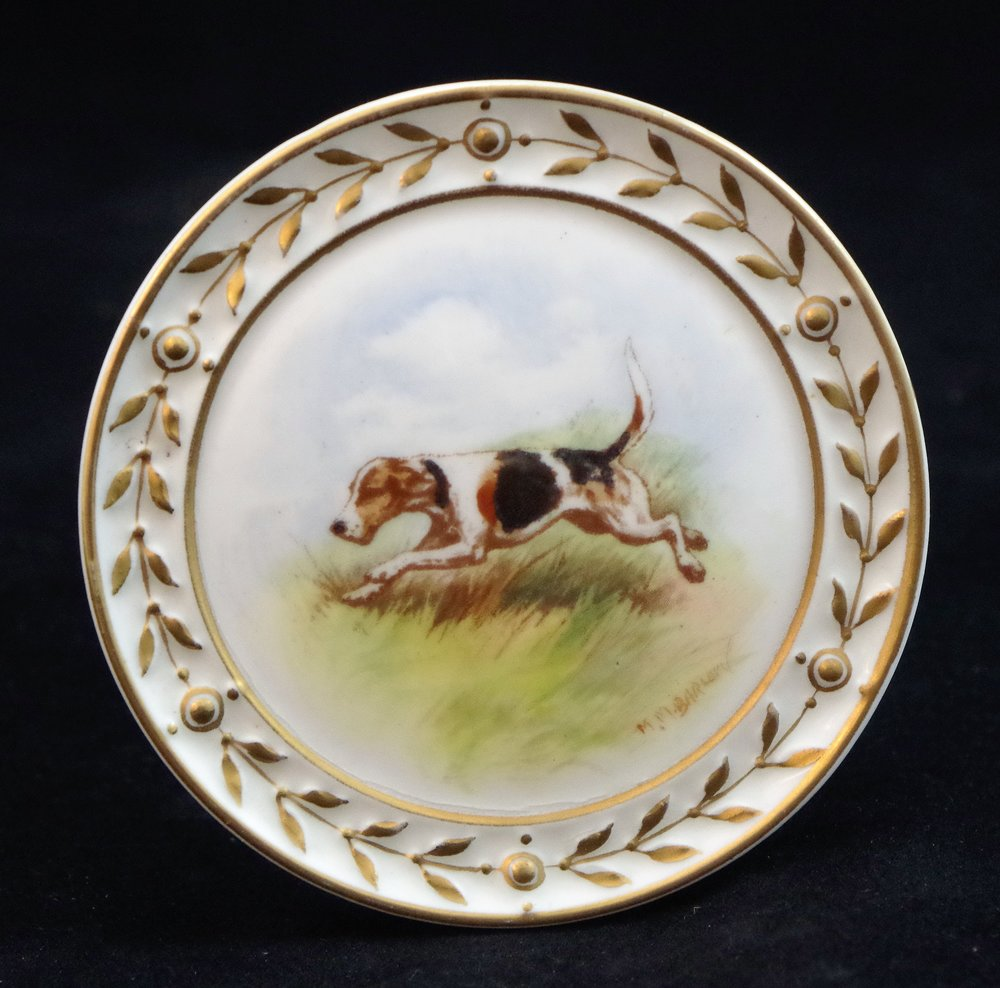 royal-crown-derby-round-plaque-hunting-dog-m-m-barlow