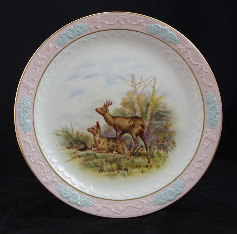 royal-crown-derby-embossed-rim-pink-blue-ground-stag-deer-scene-1