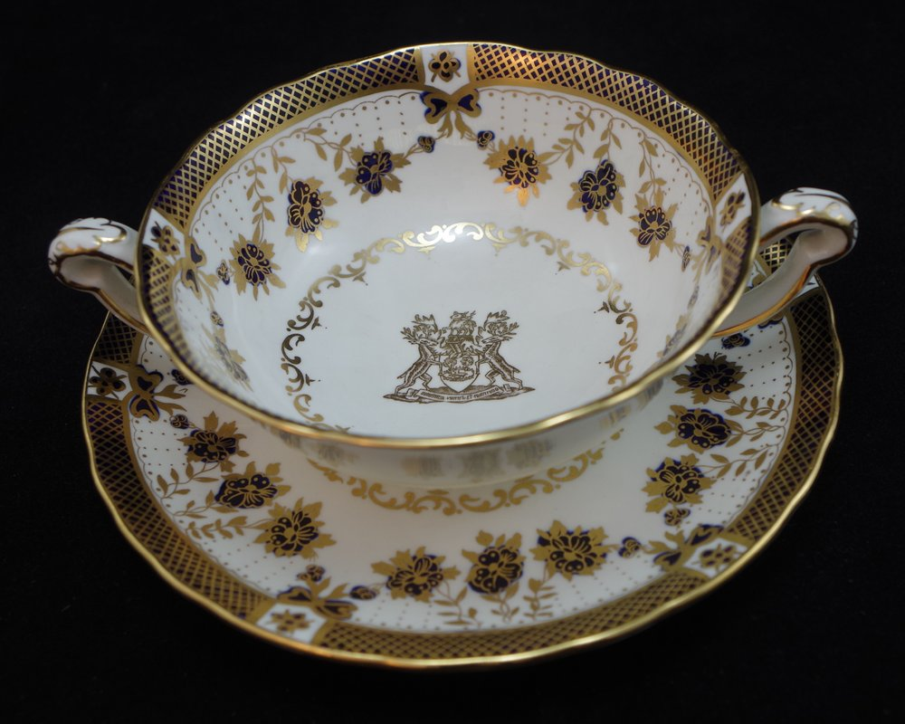 royal-crown-derby-cream-soup-and-stand-blue-enamel-borough-of-derby-crest