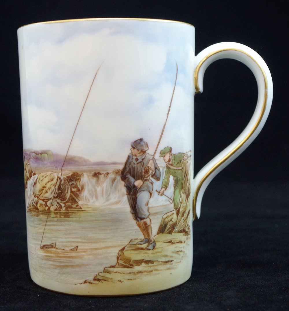 royal-crown-derby-1928-shape-tankard-angling-scene-FC-construction-1957