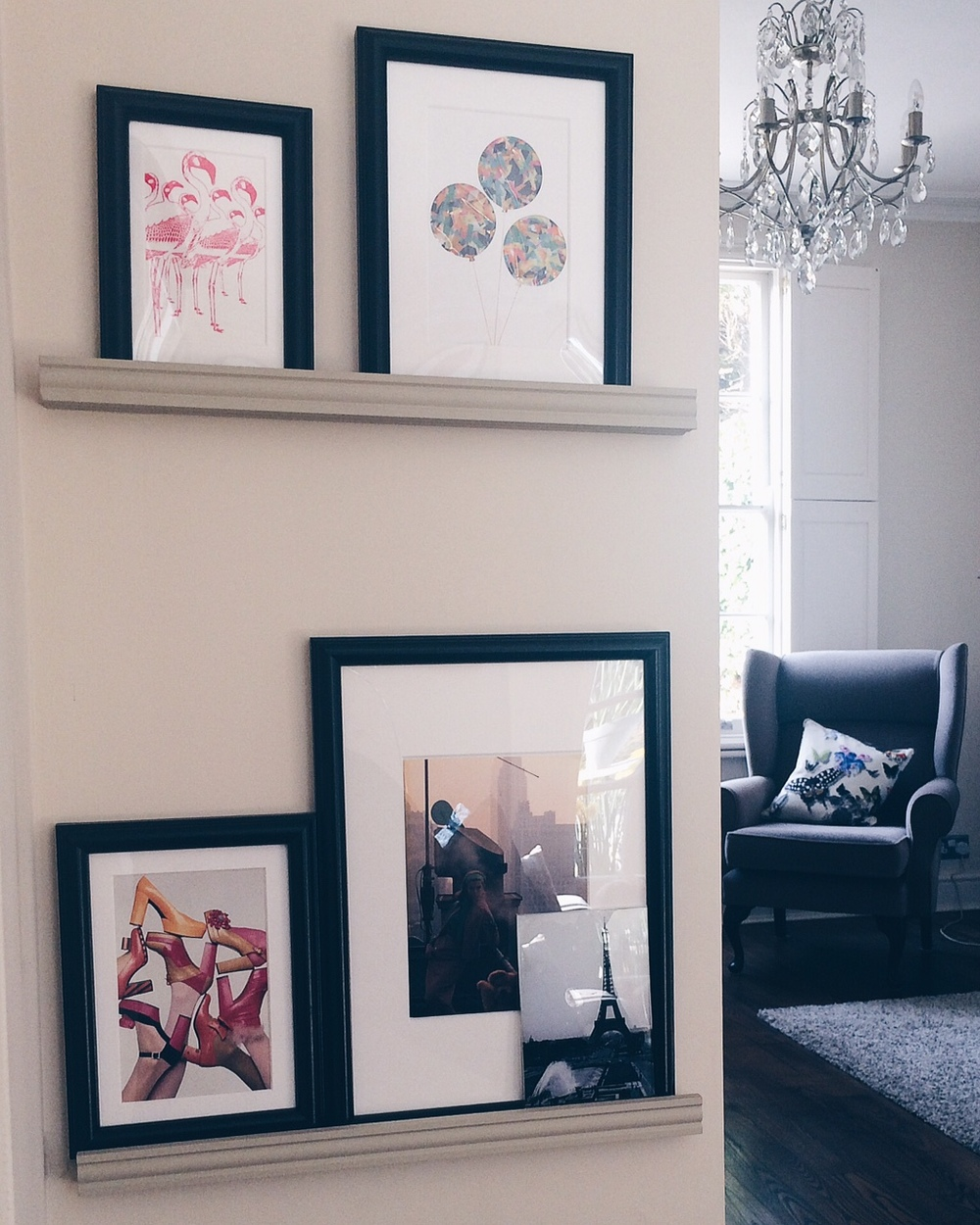 My DIY picture ledges at home, painted in 'Fawn' by Farrow & Ball. These are 'Marietorp' frames with mounts by Ikea.