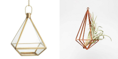 H&M Home Hanging Planter and The Urban Botanist Copper Planter.