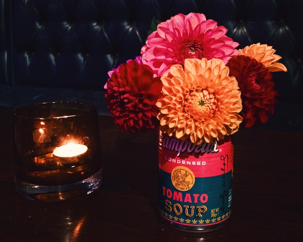 These Pompom Dahlias were a display that I put together for a friend's 60's style wedding in special edition Warhol empty soup tins.