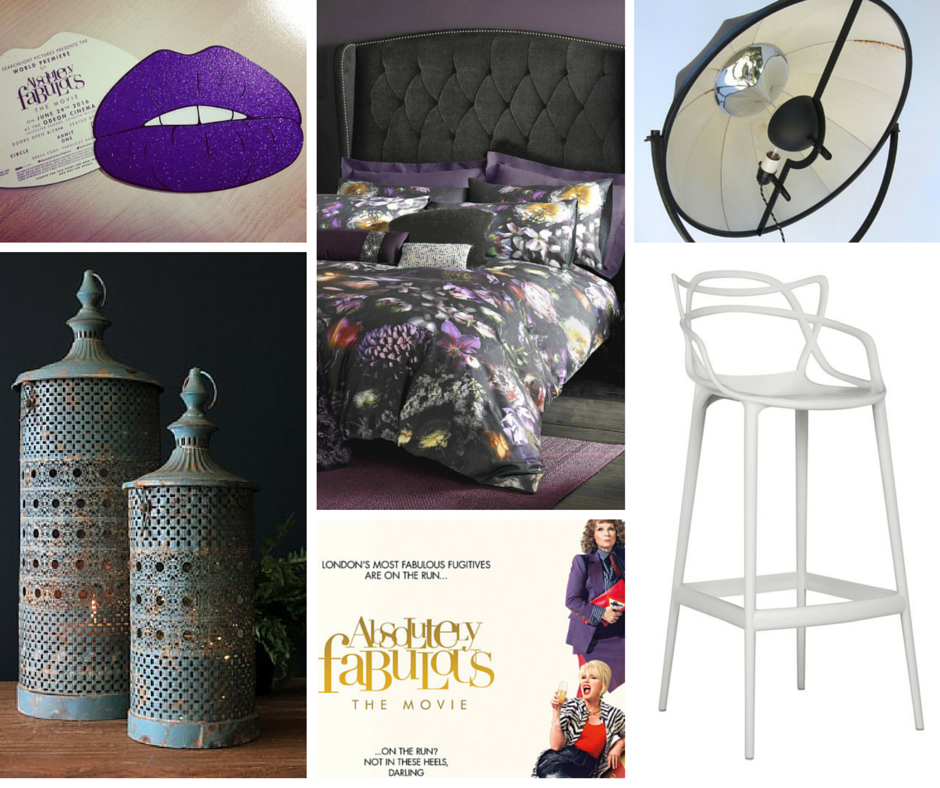 Clockwise from top: The premiere invite of glittery purple lips, bed linen by Ted Baker, the Pallucco floor lamp, Kartell bar stool, the official Ab Fab movie poster, Rockett St George lanterns.