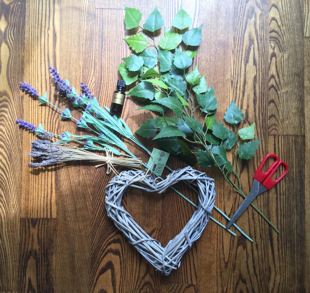 Hobbycraft heart wreath (£4), scissors, some faux lavender, some dried lavender, some faux leaves & lavender oil.