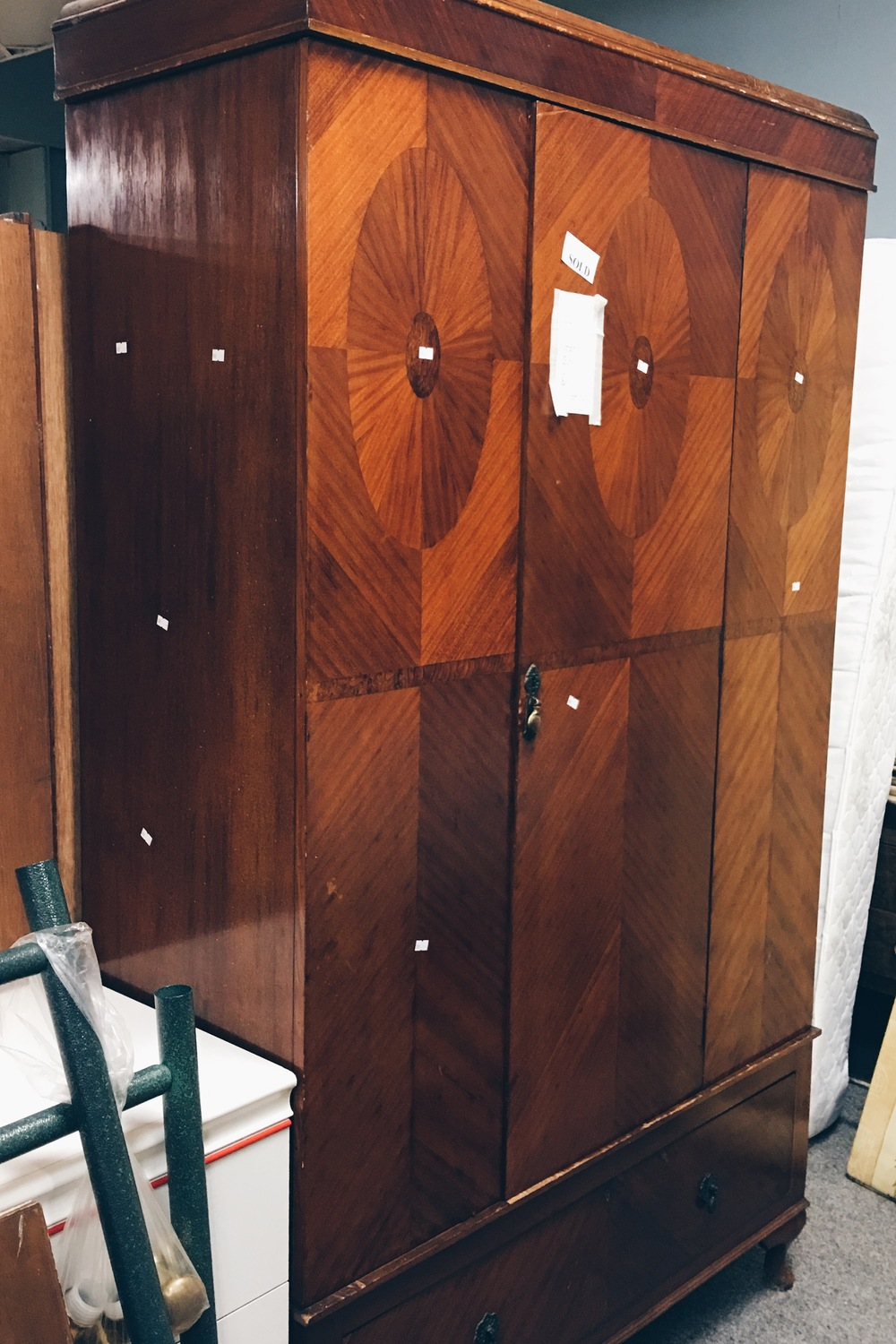 The wooden detailing on this large wardrobe is beautiful - alas it had already been sold!