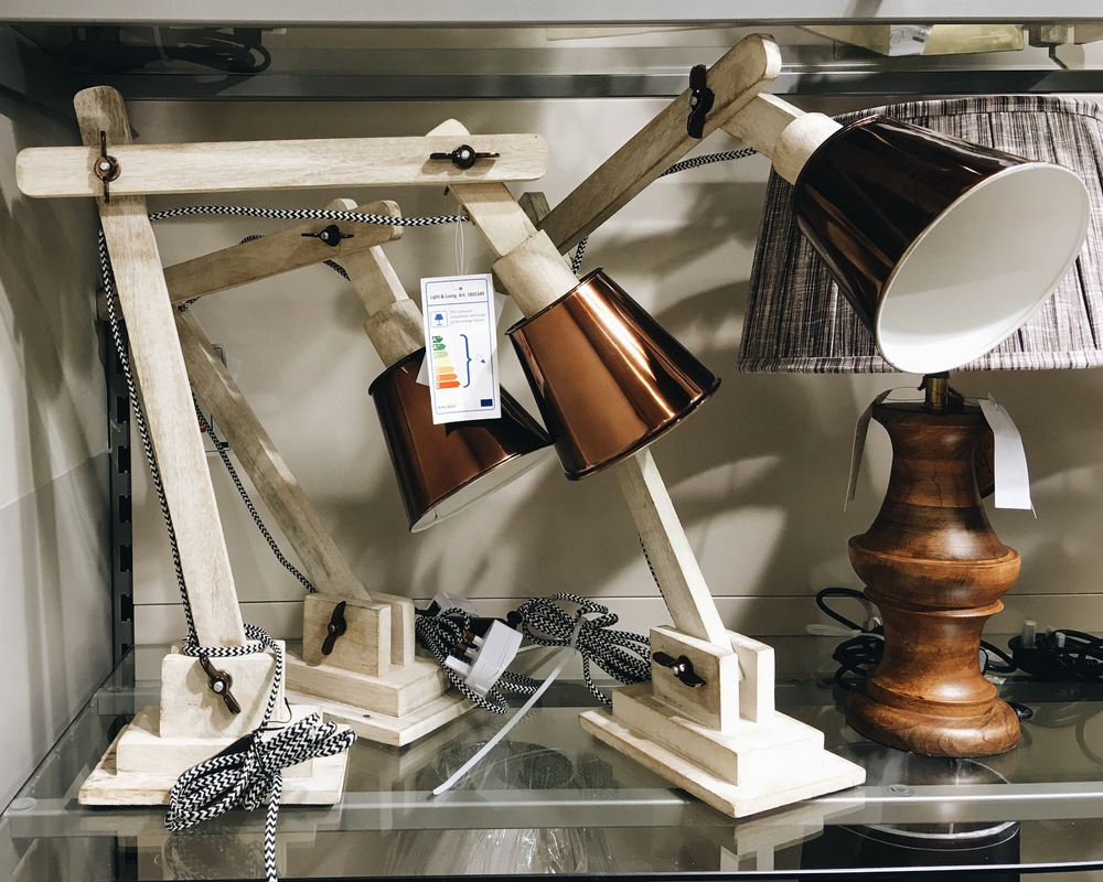These copper and wood desk lamps are really interesting and contemporary, and a snip at £25 each.