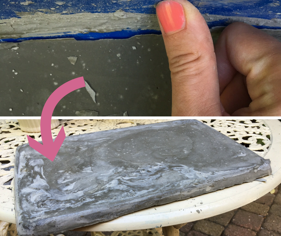 Once dry, push the sides of the mould away from the cement to dislodge the placemat and gently remove it.
